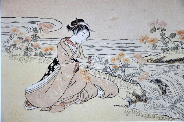Suzuki Harunobu (1765-1767) : image de calendrier (E-goyomi)