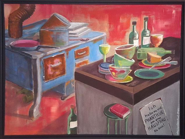 Kitchen, Malerei, Gemälde, Acryl, Acrylbild, Marilyn Monroe, Küche, Hausfrau, Phantasie, Spruch, lustige Sprüche,  Sabine Odenthal, Kunst, Art, Leinwand, Canvas, Leinen, Rot, Grau, Blau, Rost, Orange, Grau