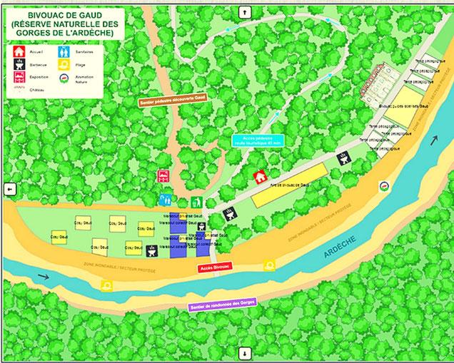plan du bivouac de gaud gorges de l'ardeche descente en canoe 2j