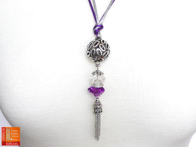 Halskette mit Kugelanhänger lila silber
