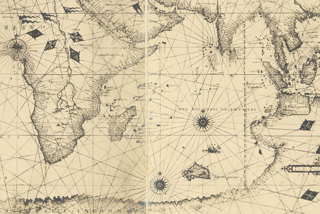 Nicolas Desliens, carte du monde, 1541, extrait - raremaps.com