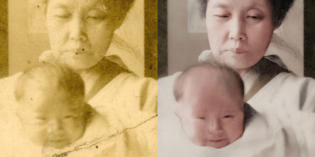 古い写真の修復例7 詳細例1