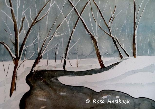aquarell, winteraquarell, winter, schnee, bäume, bild, kunst,