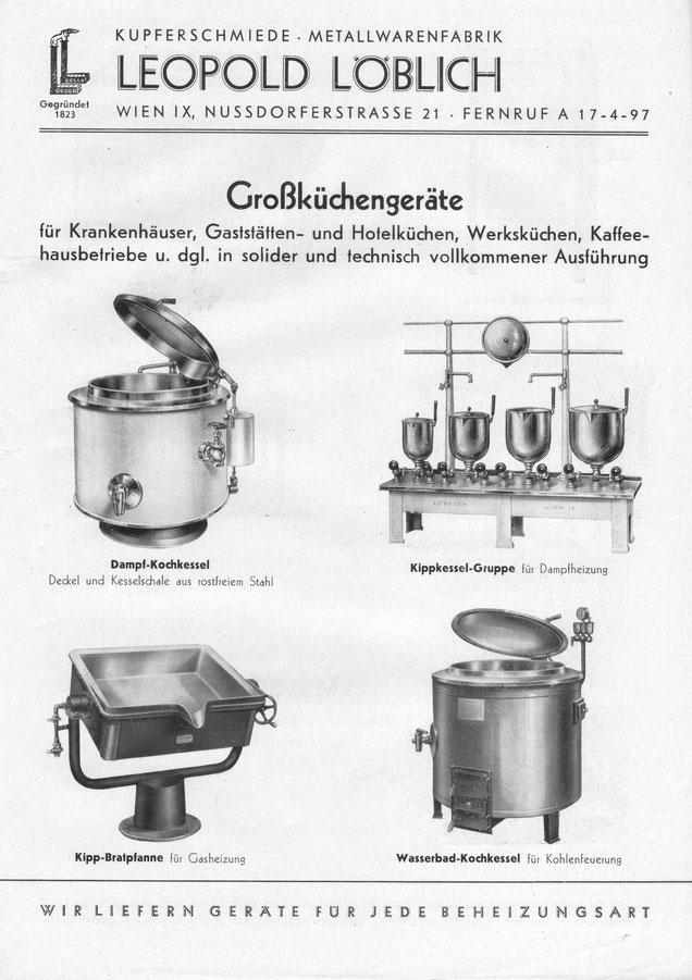 Aus dem Kochgeräte Lieferprogramm 1950