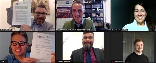 Virtuell kamen Vertreter von CAMEXA und des Bundesstaates Durango nach der Unterzeichnung des Abkommens zusammen.