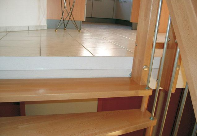 Bucher Treppen - Deckenanschluss: Austritt mit Deckenkantenwinkel