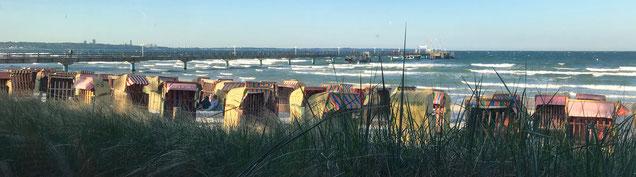 Der Strand von Scharbeutz in der Lübecker Bucht an der Ostsee