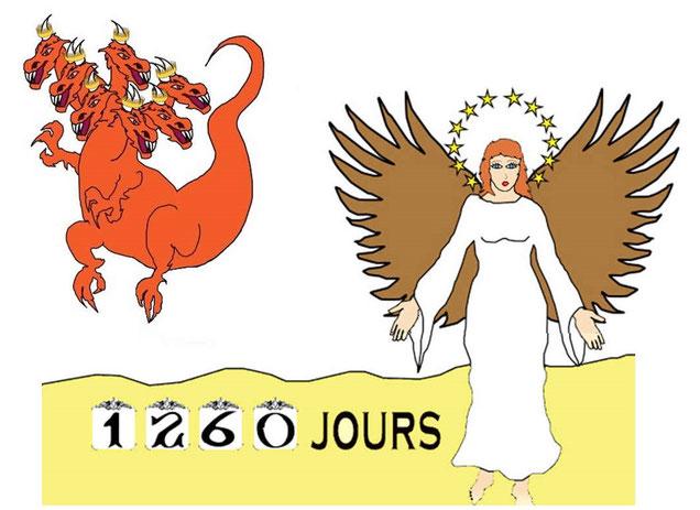 La femme représentée sur terre par les chrétiens fidèles devra s'enfuir dans un désert spirituel pendant 1260 jours ou 42 mois ou 3 ans et demi pour fuir les attaques du dragon.