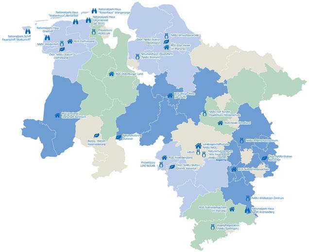 Die Regionalgeschäftstellen und die Außenstellen des NABU Niedersachsen - Grafik: Matthias Freter