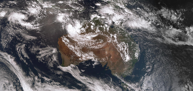 Satellite image showing two tropical low pressure systems off the north Western Australia coast and in the Indian Ocean. Image from www.bom.gov.au.