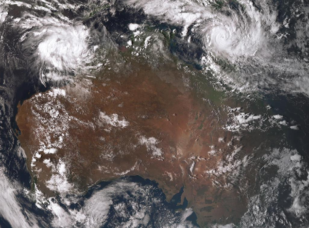 Satellite image of Severe Tropical Cyclone Trevor crossing the Queensland coast 19 March 2019. from www.bom.gov.au