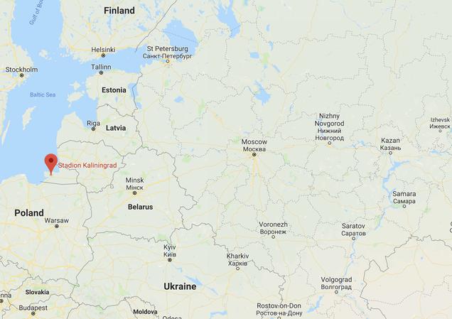 Das Stadion in Kaliningrad ist das westlichste Stadion der WM 2018. Quelle: Google Maps.