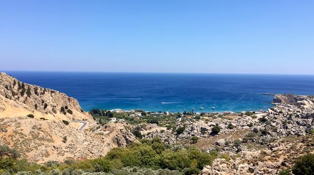 Ausblick auf die Stegna Bucht Rhodos