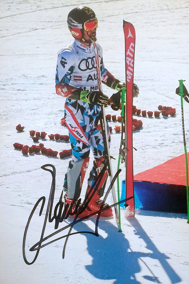 Marcel Hirscher Austria, retired, twice Worldchampion in St. Moritz, Beaver Creek and Schladming, 6 Times overall Worldcup winner, 8 dicipline worldcup titles, twice Olympic Gold 2018. Picture taken at Worldchampionship in St. Moritz 14.02.2017, Autograph by Mail