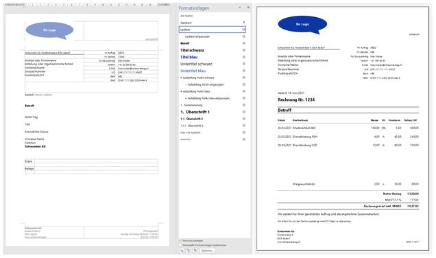 Geschäftsbrief-Word-Vorlage und Rechnung-Excel-Vorlage. Fixfertig.