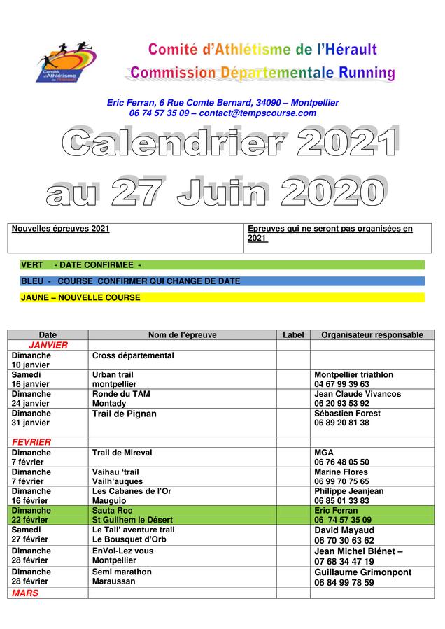 Calendrier Ffa 2021 calendrier 2021 (sous réserve de modifications)   Loupian Tri Nature