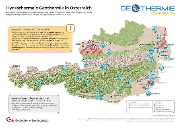 Karte zur hydrothermalen Geothermie in Österreich