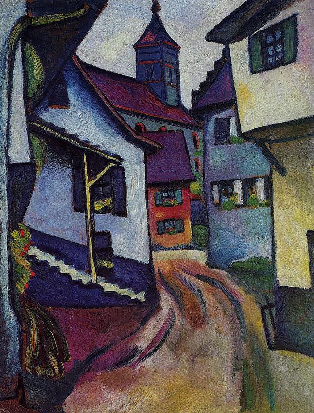 アウグスト・マッケ「カンダーンの教会通り」(1911年)