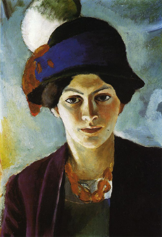 アウグスト・マッケ「帽子をかぶる妻の肖像」(1909年)