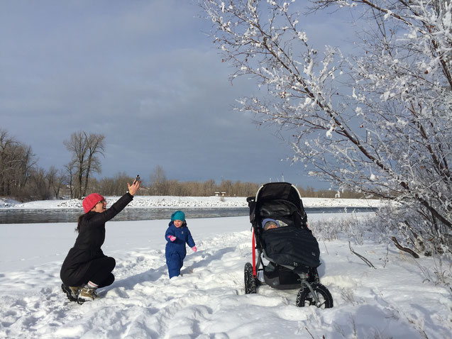 Winter walks with baby in Bob Revolution Stroller