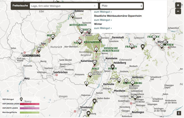 The VDP launched an interactive map of German Wineyards