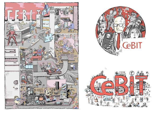 """Anlässlich der CeBIT in Hannover erschien in der Wochenzeitung """"Die Zeit"""" eine Extrabeilage, die von Niels Schröder illustriert wurde."""