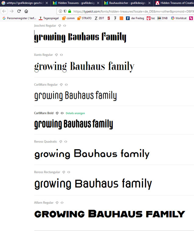 Adobe Typekit: Bauhaus-Familie. Screenshot 26.8.2018