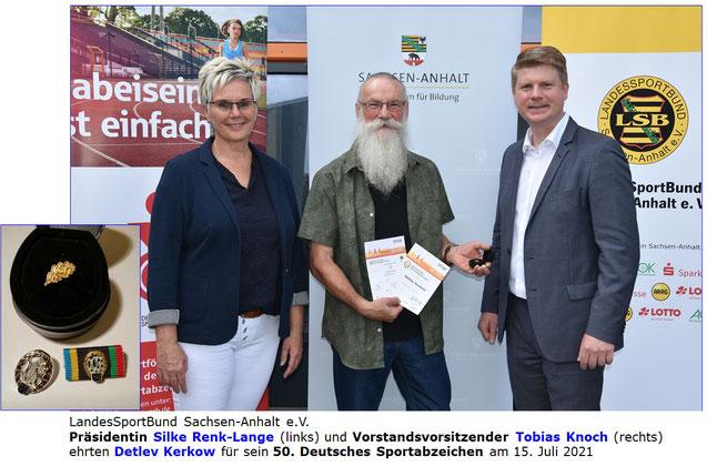 Ein herzlicher Glückwunsch geht an unseren Sportfreund und jahrelangen Sportabzeichenbeauftragten Detlev Kerkow! Er legte in diesem Jahr zum 50ten Mal das Deutsche Sportabzeichen ab. Wir sind sehr stolz auf ihn & freuen uns über die offizielle Würdigung.