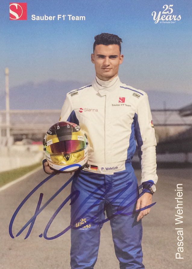 Pascal Wehrlein Germany, Formula One, 27 Races, Autograph by Mail
