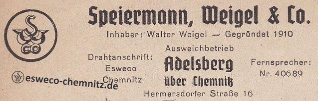 Briefkopf: Ausweichbetrieb in Adelsberg