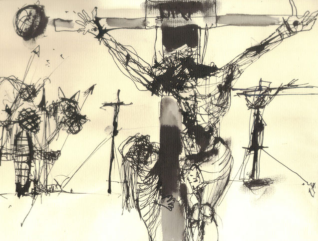 Crucifixion II / 2000 / Encre de Chine sur papier / 24x18,5 cm / Collection privée
