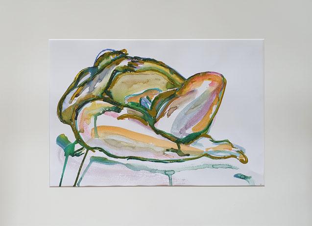 Akt liegend mit verschränkten Beinen,     Aquarell,  Maya Franzen,       Vollholzrahmen weiß   70 x 50 cm,   320 €