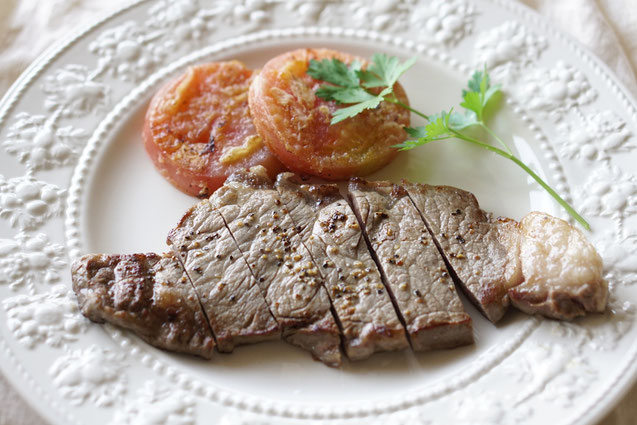 ステーキ トマト ヘルシー ダイエット オンライン料理教室 野菜