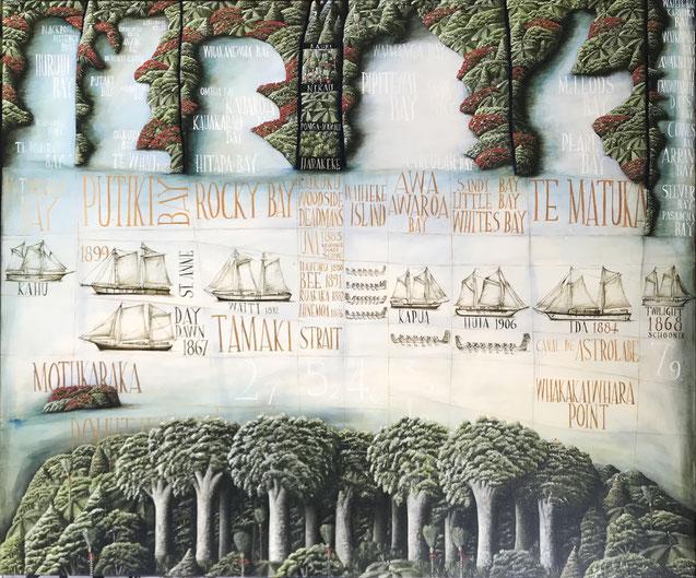 'Tamaki Strait', 120 x 100 cm, Oil on canvas 2021