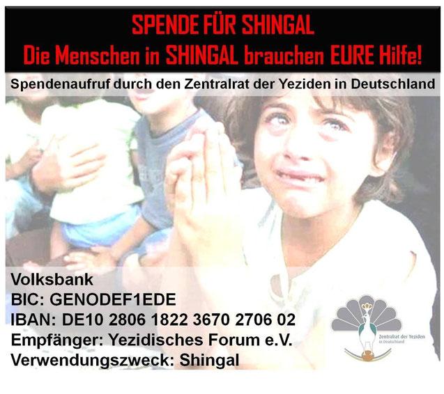 Spendenaufruf vom Zentralrat der Yeziden in Deutschland