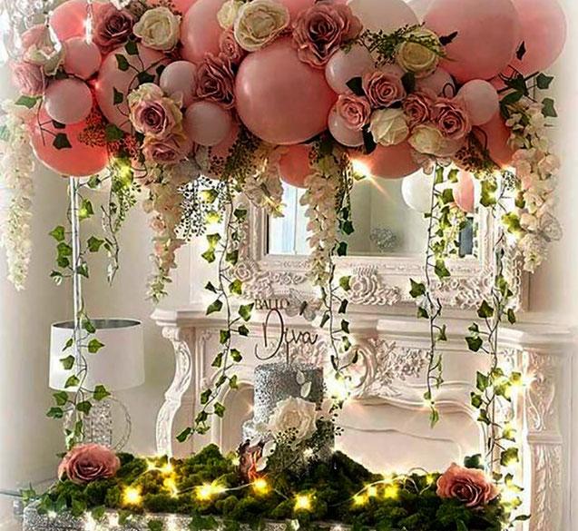 arreglo vintage con globos y flores