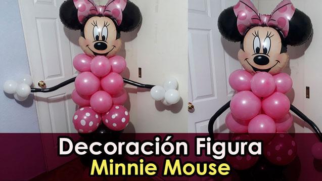 como hacer una columna de globos de minnie mouse