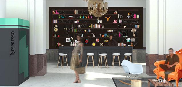 création, conception, design scénographie exposition, convention nespresso - espace détente, café, dégustation