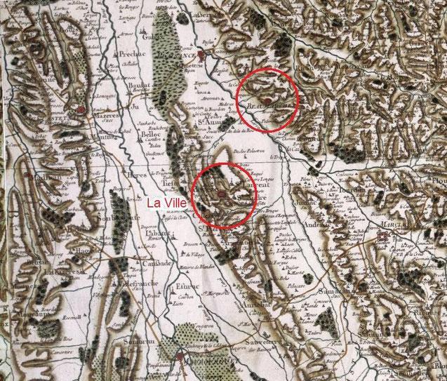 Carte de Cassini : Place ville forte médiévale ladevèze-ville Rivière-Basse Château fort