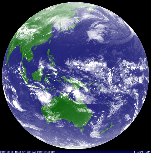 Colorized satellite image showing Severe Tropical Cyclone Trevor in the Coral Sea 20 March 2019. From JMA