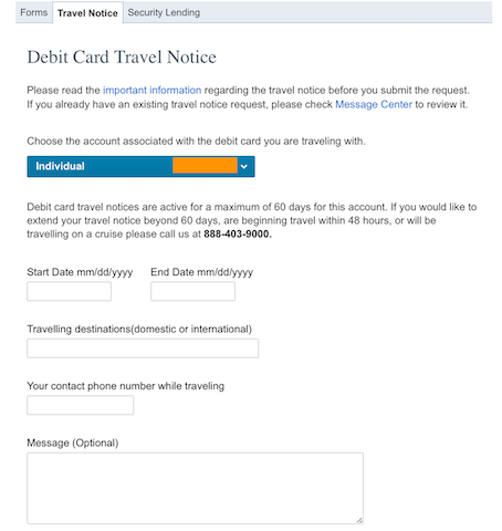 Charles schwab online debit card travel notice
