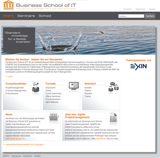 Website 4train oHG Business School of IT