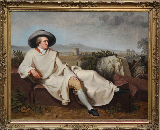 Goethe in der Campagna (auch: Goethe in der römischen Campagna) - Gemälde  von Johann Heinrich Wilhelm Tischbein,  1787, Öl auf Leinwand 164× 206cm Städel, Frakfurt/M., Foto: B. Riedl