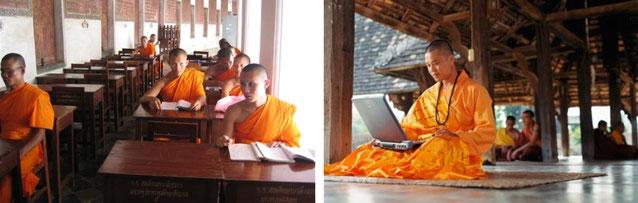 Mönche in Bibliothek und Mönch mit Laptop