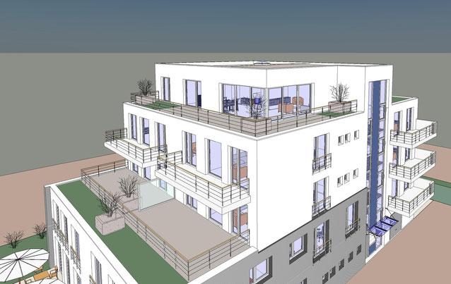 Blick auf die großzügigen Dachterrassen bzw. Balkone