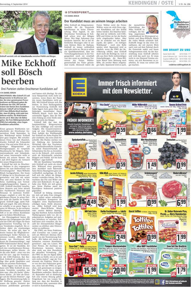 Stader Tageblatt vom 04. September 2014