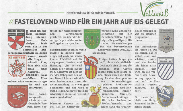 Mitteilungsblatt Gemeinde Vettweiß vom 8.11.2020