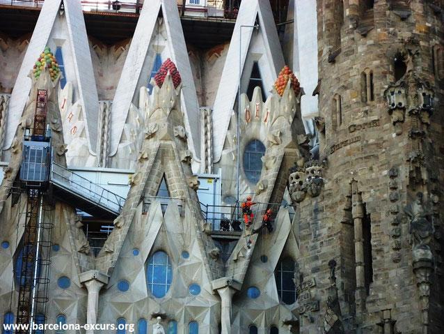 Саграда Фамилия в Барселоне. Фрукты на боковых фасадах
