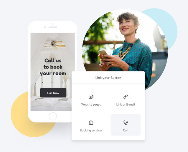 Los visitantes de tu página Jimdo pueden llamarte directamente desde tu web.
