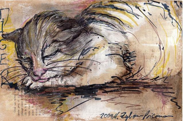 Tiger auf übermalter Buchseite,                                                                                      24 x 16 cm, 2004.